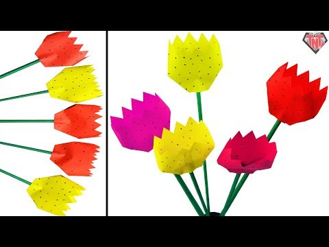 Easy & simple Beautiful Paper Tulips || How to make origami flower || DIY paper dot tulip