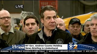 Andrew Cuomo, Steve Bellone Hold News Conference On Storm Response