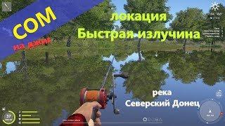 Русская рыбалка 4 река Северский Донец Сом у поворота реки