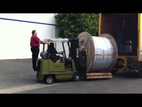 Unloading A Large Fiber Reel Youtube