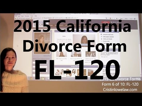 Filing California Divorce Forms: Form 6 of 10 the FL-120