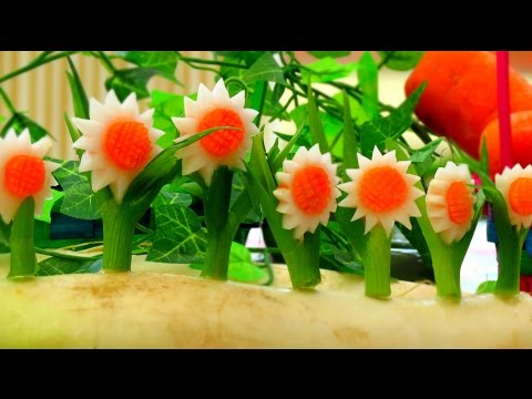 How to Make Vegetable White SunFlowers - Vegetable Carving Garnish - Sushi Garnish - Food Decoration