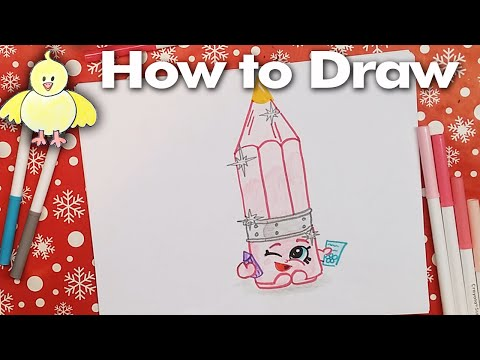 How To Draw Shopkins: Penny Pencil - Narrated Step By Step Drawing Lesson