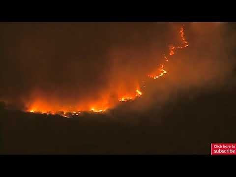 Live video: Aerial footage shows raging Thomas wildfire in California after ten days