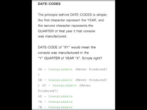 ☆Date Codes For PS3 Downgrade☆ - YouTube