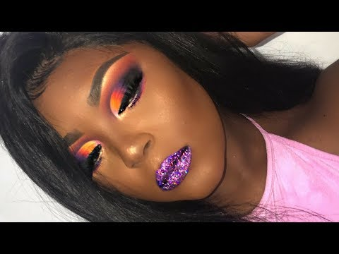 Dramatic Cut Crease W./ Purple Glitter Lip Inspired By Stacey Marie | Full Coverage Foundation