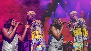Adekunle Gold sings for his boo, Simi as she blushes and joins him on stage at the About 30 concert