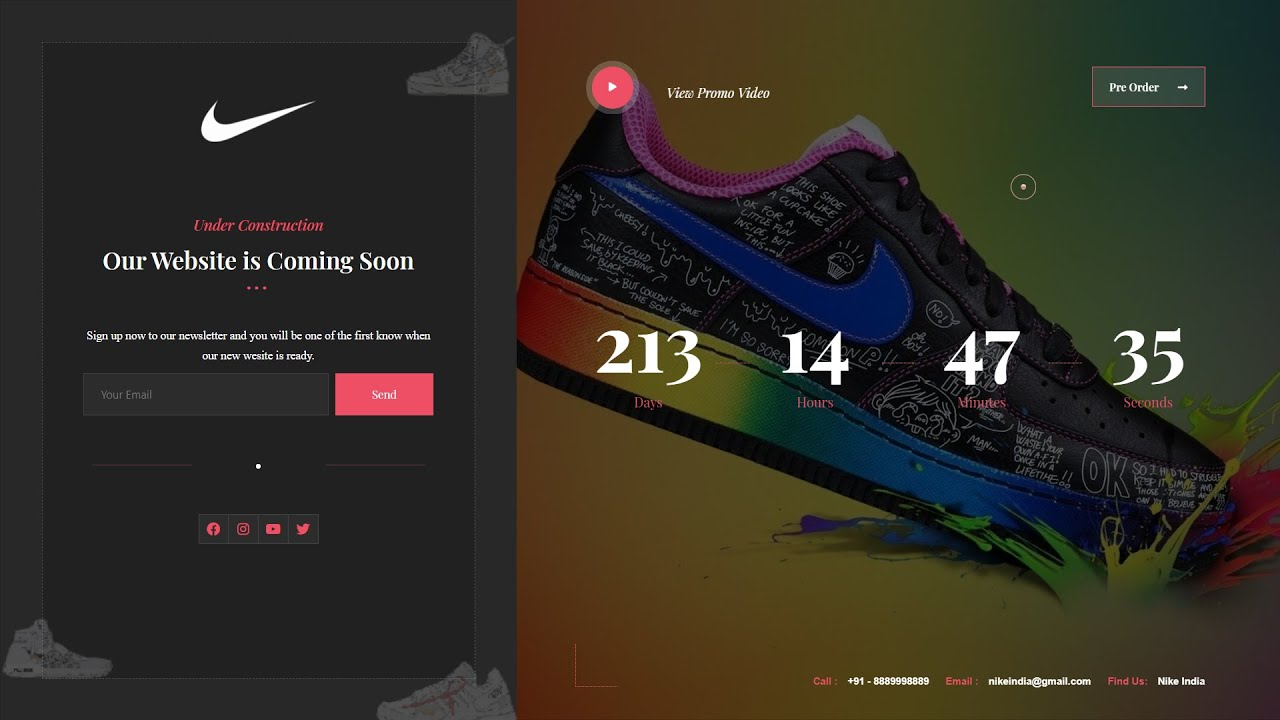 Coming Soon Page with image carousel , form and countdown using HTML , CSS and jQuery