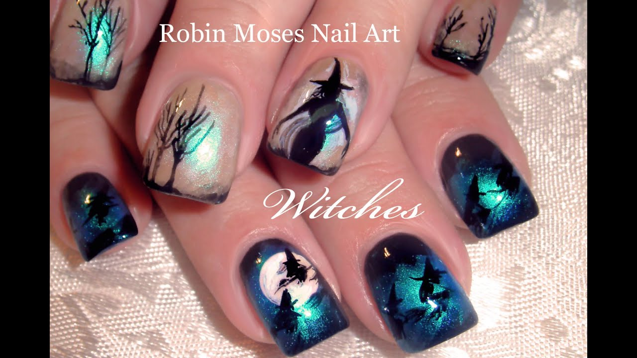 DIY Halloween Nails | Witches Flying over Moon Nail Art Design Tutorial -  YouTube - DIY Halloween Nails Witches Flying Over Moon Nail Art Design