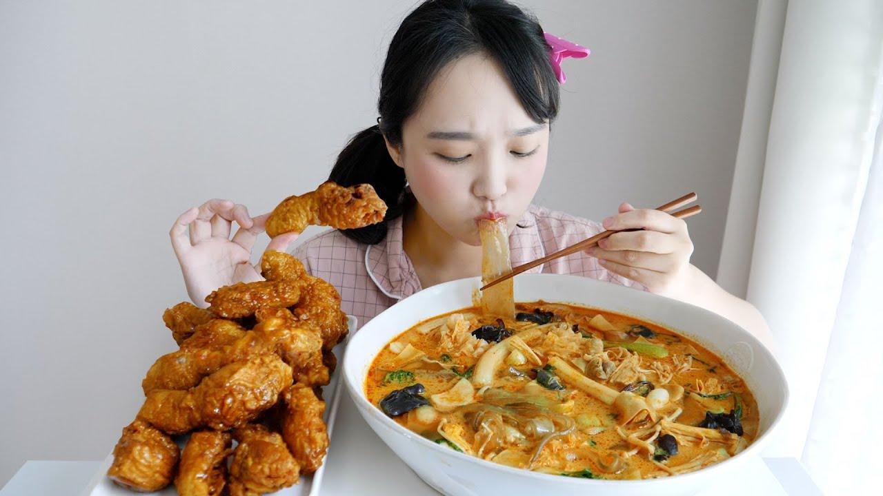 허니콤보와 마라탕 먹방✨진짜 진짜 사랑하는 핵꿀조합 ft. 민트초코소주 REALSOUND  MUKBANG   spicy malatang,honey chicken :D