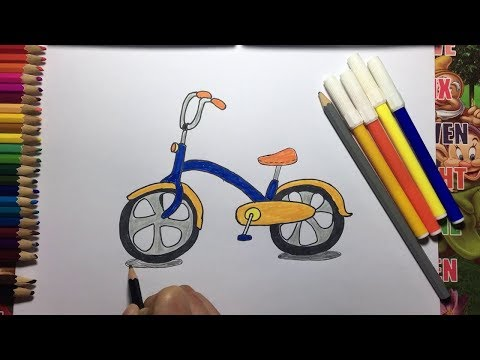 How to Draw Bicycle for Kids step by step Coloring Pages Learn Colors Childrens