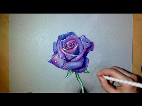 Dessin Réaliste Une Rose Violette Youtube