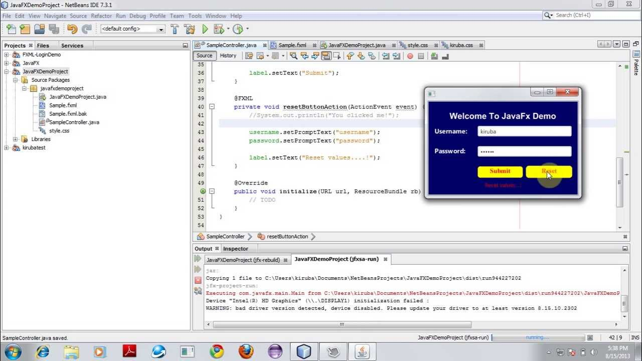 using templates in java - get started with javafx fxml application using netbeans