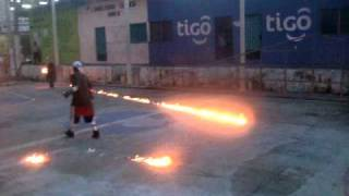 Fire Throwers warm up in Nejapa, El Salvador