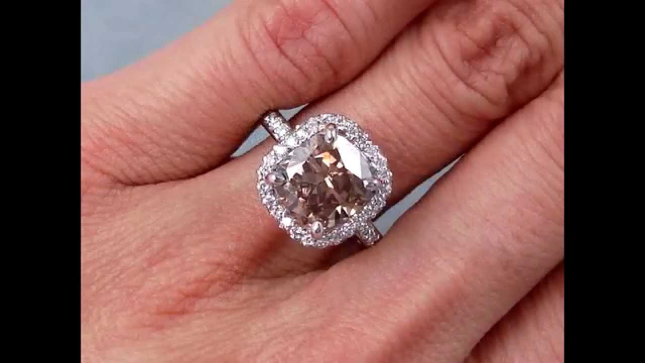 3.69 ctw Cushion Cut Diamond Engagement Ring - BigDiamondsUSA - YouTube