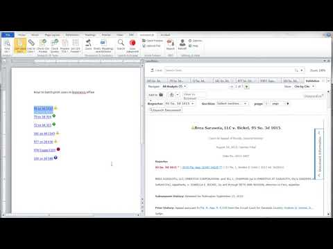 How to batch print cases in Lexis for MS Office or MS work
