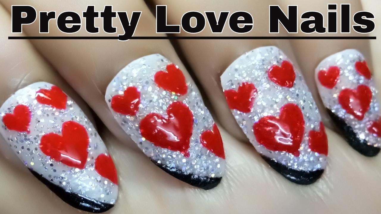 Simple Love Nail Designs | Pretty Love Nails | Holo Nail Gel Designs ...