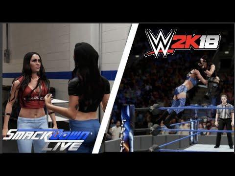 Peyton Royce attacks Nikki Bella backstage / Brie Bella vs Billie Kay /WWE2K18 PS4