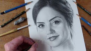 Drawing Jenna Coleman Clara Oswald in Doctor Who Time-Lapse Art