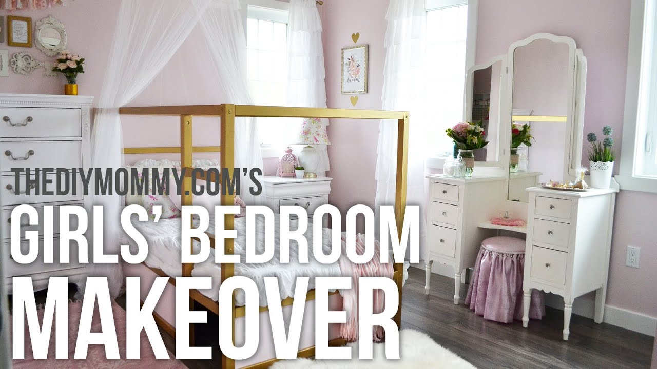 A Girls Room Design Makeover In Gold White And Pink