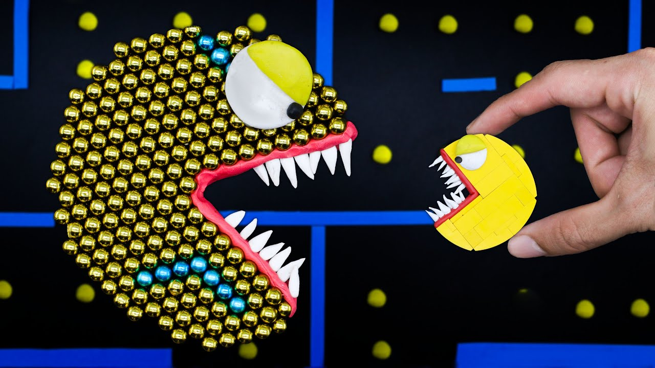 Magnetic Monster Attack   Best Of Pacman Stop Motion Game Compilation