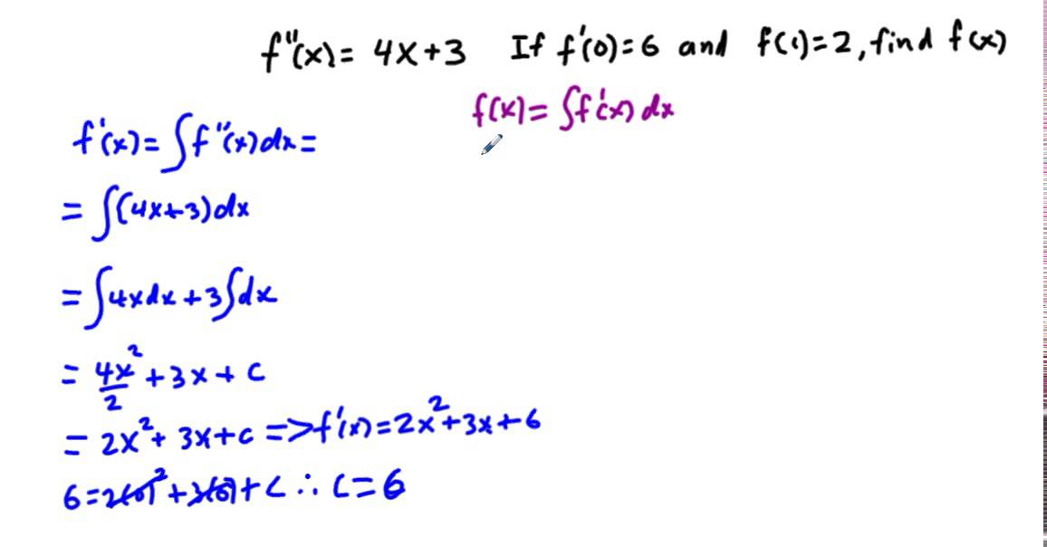 mm34 7 10 Sketching fx) given graph of f'(x) - YouTube