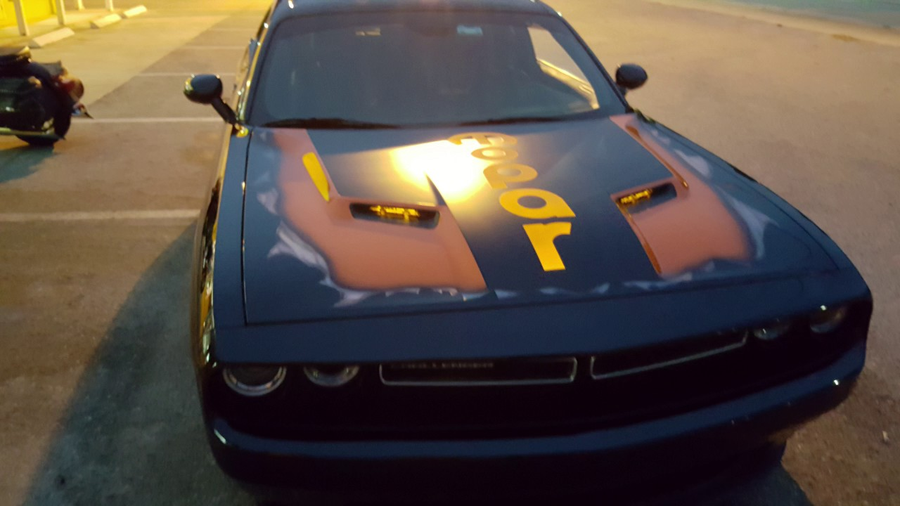 Dodge CHALLENGER Custom LUMILOR Hood Light up Paint - YouTube