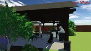 West Lubbock Cedar Patio Cover, Pergola, Fire Place & Kitchen