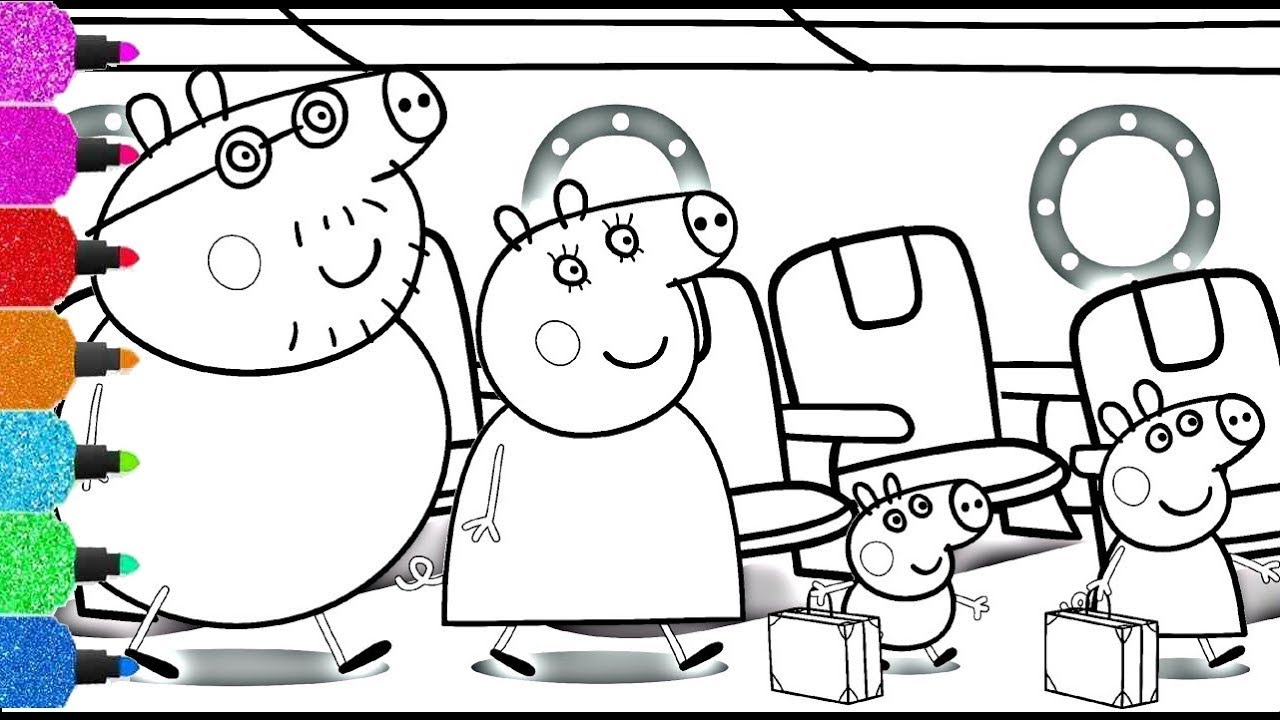 Peppa Pig S Sunny Holiday Airplane Peppa Pig Flying In The Sky Peppa Pig Coloring Pages