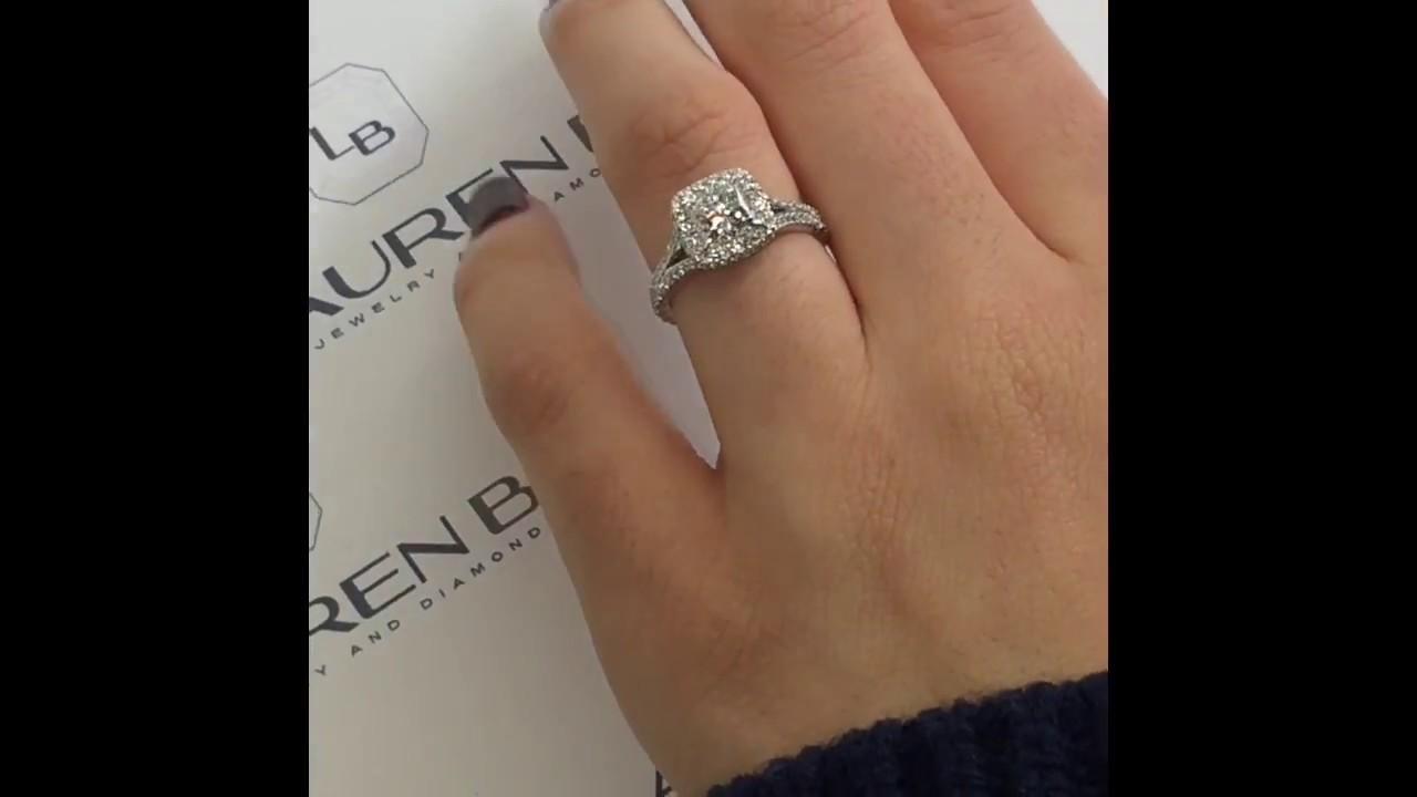 04d2d5e09 1.21 ct Princess Cut Diamond Halo Engagement Ring - YouTube