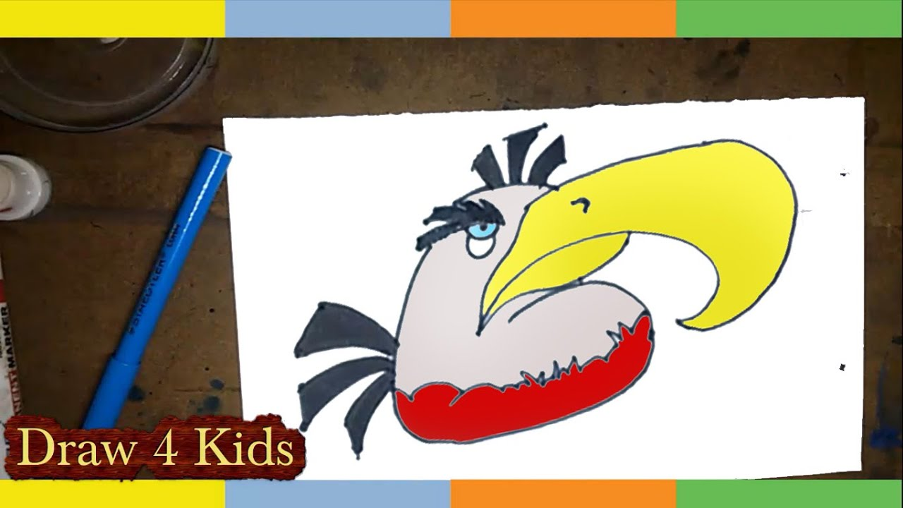 How To Draw Mighty Eagle Angry Birds Step By Step For Kids