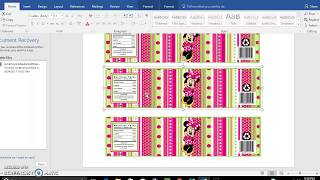 Diy, Tutorial, Template for water bottle labels for microsoft and publisher
