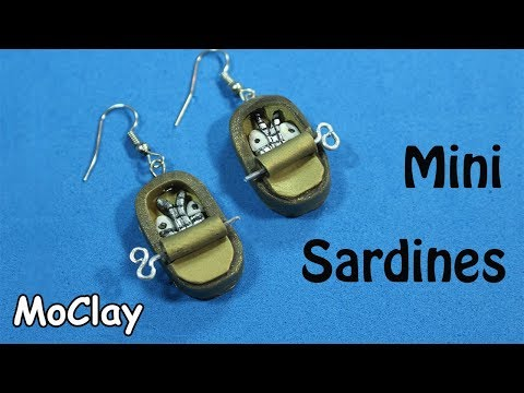 DIY canned sardines miniature - Polymer clay earrings