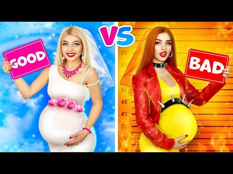 GOOD Pregnant Vs BAD Pregnant | Awkward Pregnancy Situations With A Good U0026 Evil Girls By RATATA BOOM