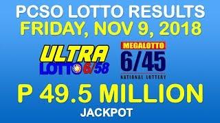 Lotto Result November 9 2018 9 PM PCSO (Ultra Lotto 6/58, Mega Lotto 6/45 results)