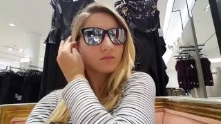 young hot blonde waiting at Nordstrom fitting room