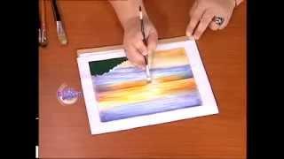 Adriana Chacón - Bienvenidas TV - Pinta sobre tela un Paisaje de Mar.