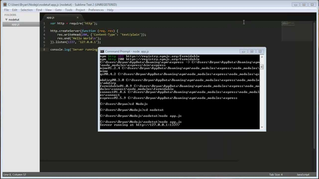 Nodejs tutorial 1 creating a http web server youtube baditri Image collections