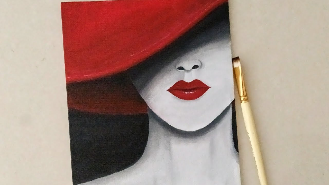 Lady In Red Hat Acrylic Painting A Girl Hiding Under A Hat How To Paint A Lady With Hat Youtube