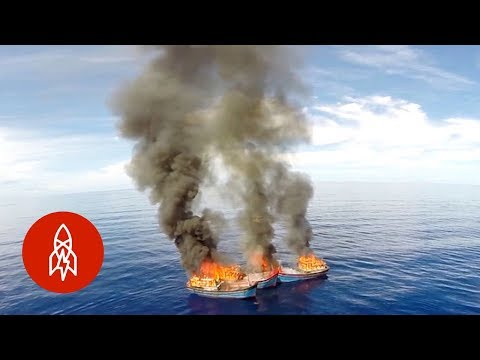 Marine Police from this Island Burn Illegal Fishing Boats