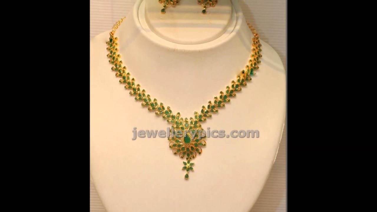 Latest Emerald Necklace Designs 2014 models - YouTube