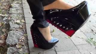 corset platforms - stylish black shiny platform wedges