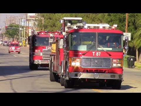 LAFD Light Force 87 & EMS 11 Responding
