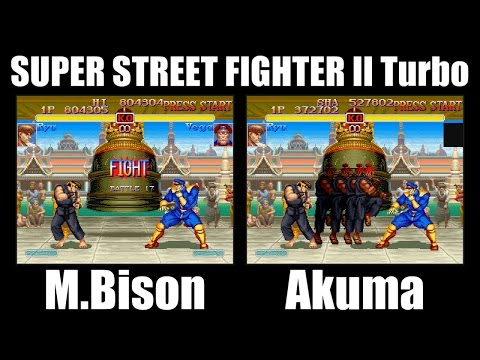 Ryu(リュウ) vs M.Bison(ベガ) and Akuma(豪鬼) - SUPER STREET FIGHTER II X