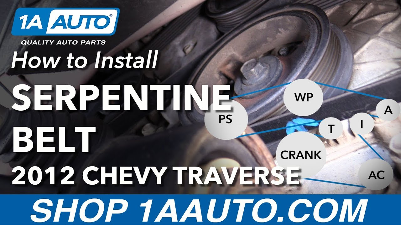 how to replace serpentine belt 09 13 chevy traverse youtube 2011 chevy traverse seat belt replacement 2011 chevy traverse belt diagram [ 1280 x 720 Pixel ]