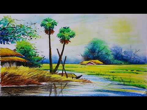 Nature Scenery Painting | Oil Pastel Color  – Step by Step For Beginners