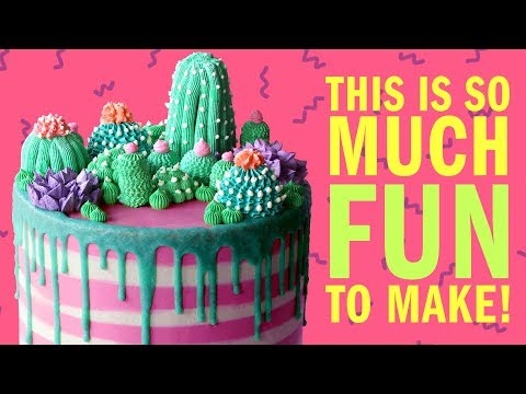 How To Make A Cactus Garden Buttercream Cake For Mothers Day NO FONDANT RECIPE- The Scran Line