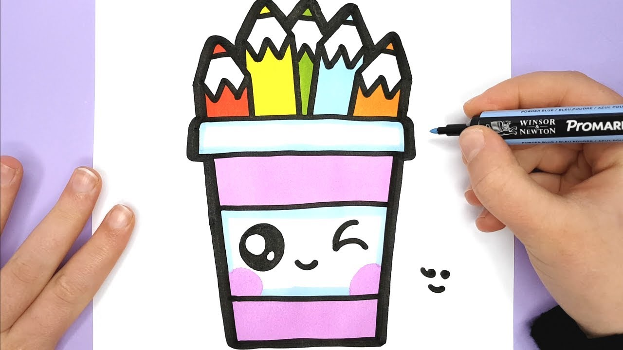 How to Draw a CUTE PENCIL POT - EASY - HAPPY DRAWINGS ...
