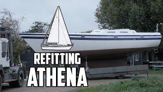 Sail Life - Moving Athena back outside & fiberglass dodger - DIY sailboat restoration