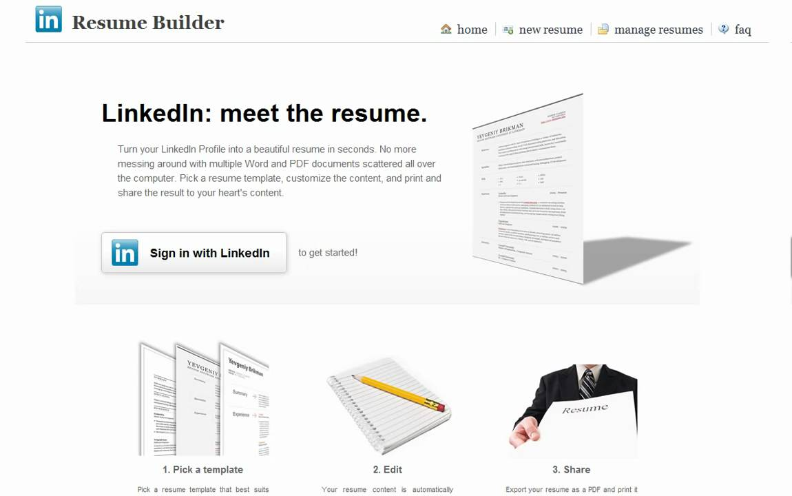 linked in resume builder